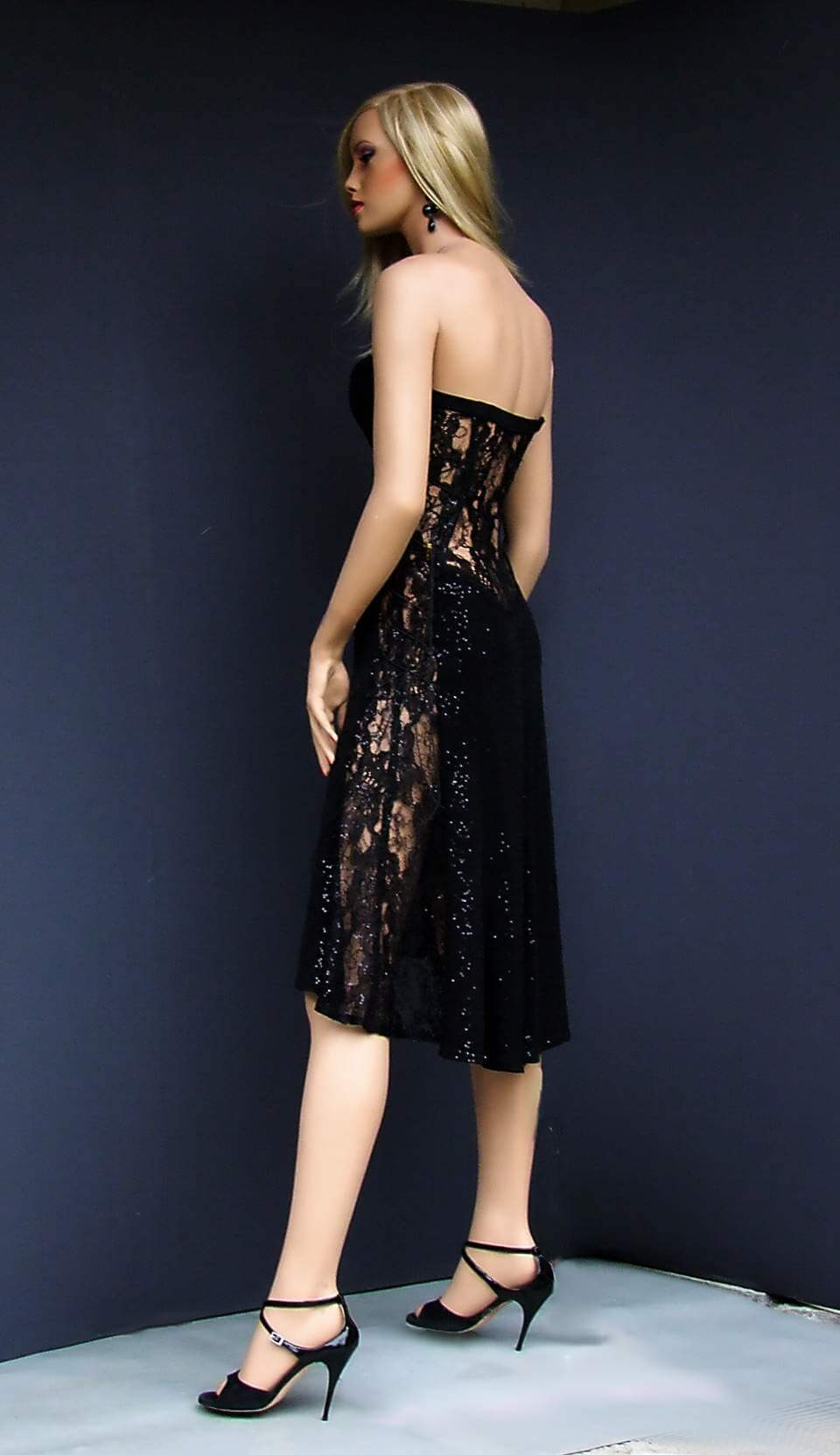 ta 048 black sequins&lace tango dress